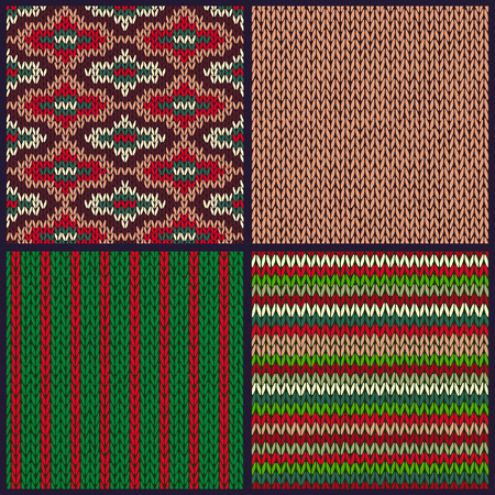 samples: Seamless Knitted Pattern. Set of Christmas Samples. Collection of Red Green White Color Winter Backgrounds