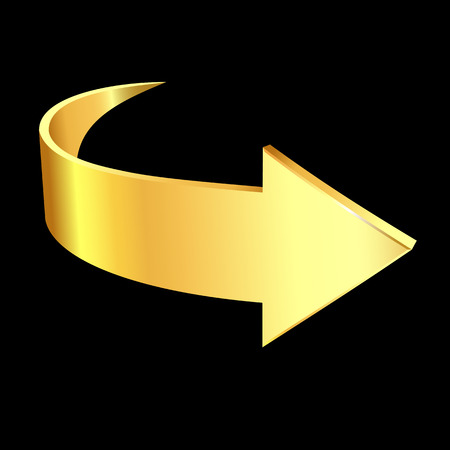 Gold arrow isolated illustration on black background