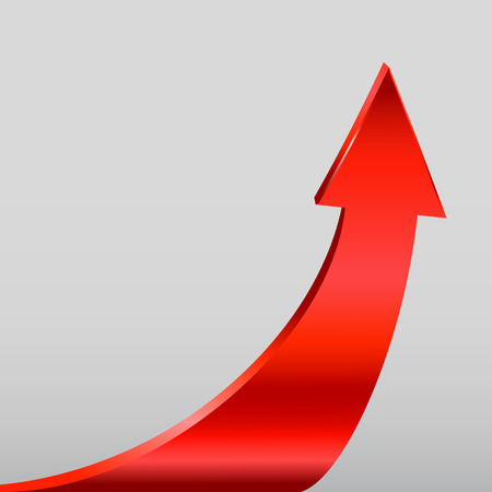 upturn: Red arrow and neutral light grey background