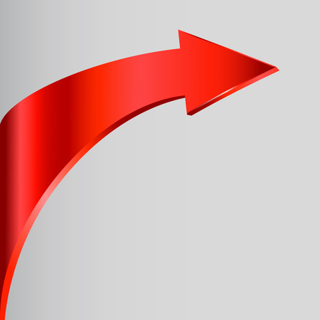 upward movements: Red arrow and neutral grey color background Illustration