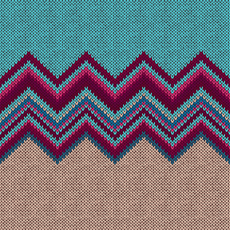 fancywork: Seamless knitted pattern. Style blue red white ethnic geometric background