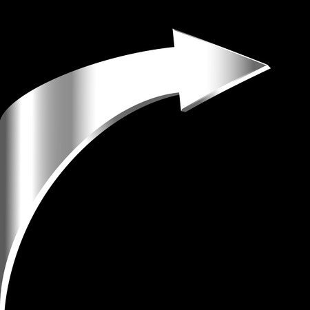3 point perspective: Silver arrow sign and neutral black background