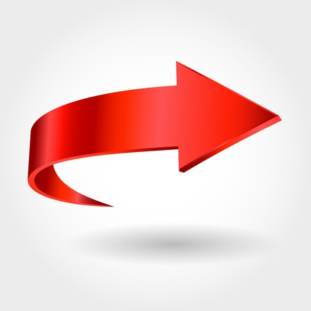 Red arrow and white background. Symbol of motion Vektorové ilustrace