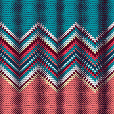 wave ornament: Seamless knitting Christmas pattern with wave ornament in red blue white yellow color