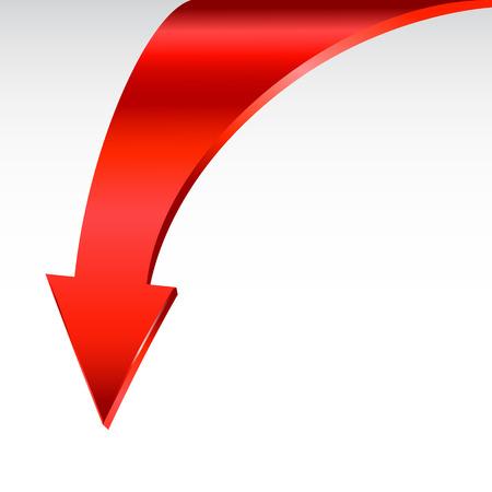 símbolo de la flecha roja y fondo blanco neutro