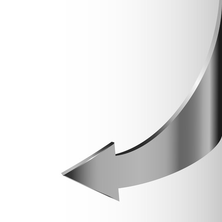 descend: Silver metal arrow points backward and white background. Symbol of motion