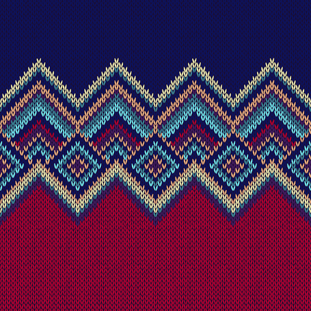 knit: Seamless Pattern. Knit Woolen Trendy Ornament Texture. Fabric Color Tracery Background Illustration
