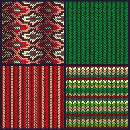 Seamless Knitted Pattern. Set of Christmas Samples. Collection of Red Green White Color Winter Backgrounds
