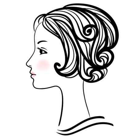 femme dessin: Woman face silhouette. Tête de femme avec coiffure élégante