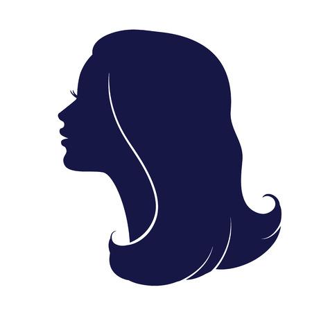 Perfil de la mujer cara. silueta de la cabeza femenina. el pelo del corte de pelo de longitud media Foto de archivo - 61679751