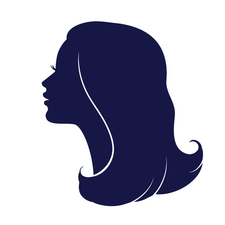 Woman face profile. Female head silhouette. Haircut hair of medium length Vectores