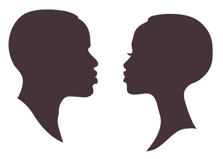 African woman and man face silhouette. Young attractive modern female brutal male profile sign Vettoriali