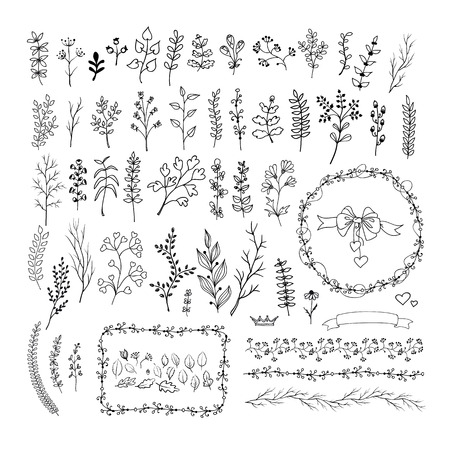 Floral vintage hand drawn vector collection. Set of ink doodle design elements isolated on white for wedding, birthday, christmas cards and other invitation. Rustic style
