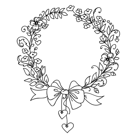 holyday: Floral vintage hand drawn vector wreath. Ink doodle design isolated on white for wedding, birthday, christmas cards and other invitation. Rustic style Illustration