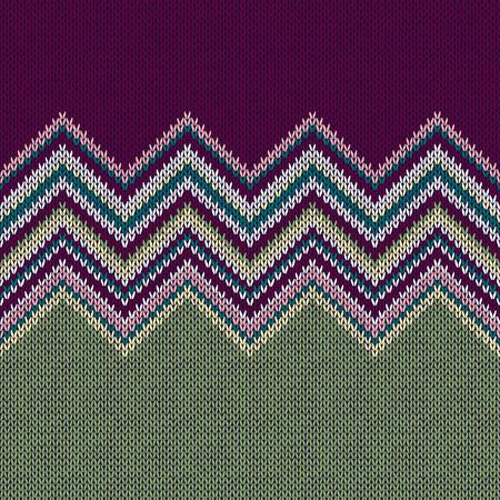 fancywork: Seamless Ethnic Geometric Knitted Pattern. Violet Yellow Green Horizontal Seamless Background Illustration