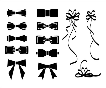 white bow: Bow set. Black and white silhouette for decoration Illustration