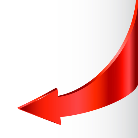 Red arrow and neutral white background