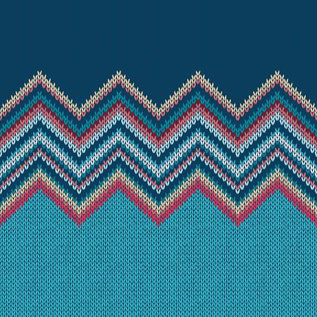 pattern geometric: Seamless knitted pattern. Style blue yellow red white ethnic geometric background