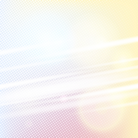 hotspot: Halftone background with diagonal light lines and hotspot. Blue yellow pink white color square shape vector banner Illustration