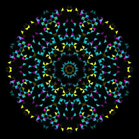 Abstract Geometric Bright Kaleidoscope Pattern. Circle Symmetric Design. Round Flower Ornament Illustration