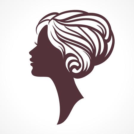 silueta cara de la mujer. Cabeza de mujer con peinado con estilo Ilustración de vector