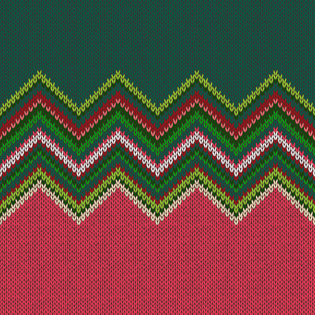 Seamless ethnic geometric knitted pattern. Style green white red background Illustration