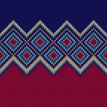 Seamless Pattern. Dzianina wełniana Trendy Tekstura Ozdoba. Tkanina Kolor Tracery Tło Ilustracje wektorowe
