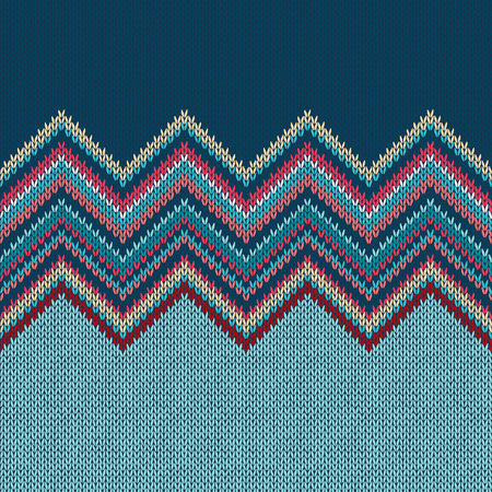 Seamless knitting Christmas pattern with wave ornament in red blue white yellow color