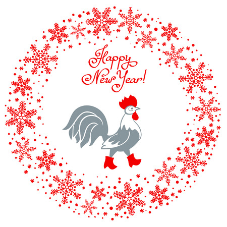 red boots: Rooster in red boots. Cartoon stylized rooster symbol of New Year 2017 isolated on white background. Round garland of snowflakes Illustration