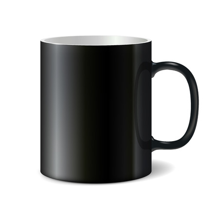 printing logo: Black big ceramic cup for printing corporate logo. Cup isolated on white background. Vector 3D illustration Illustration