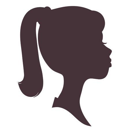 Fronte della ragazza silhouette. Bella ragazza con i capelli lunghi