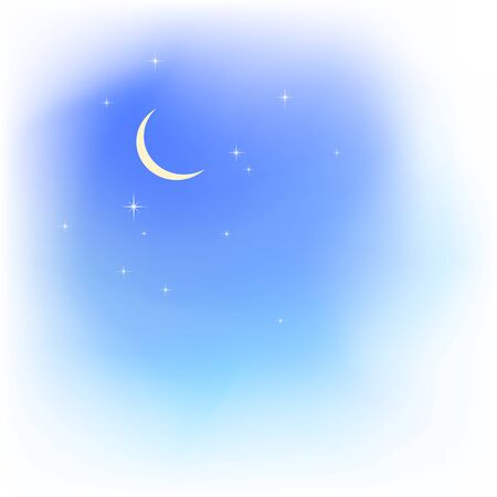 Blue sky in soft clouds with moon and stars. Fair weather. Evening sky. Blured clouds and sky vector background Illustration