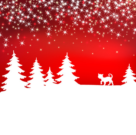 Christmas background. Winter landscape with cat. White fairy forest Illustration