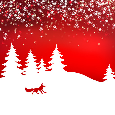 Christmas background. Winter landscape with fox. White fairy forest Illustration