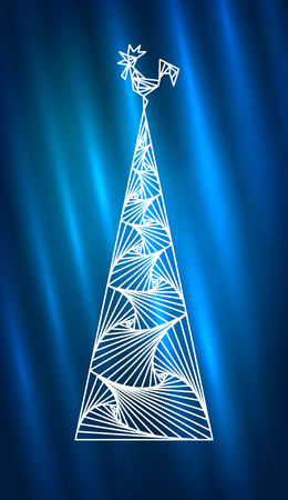Abstract Christmas tree and rooster. 2017 New Year design. Northern Lights with white geometri line simple pattern