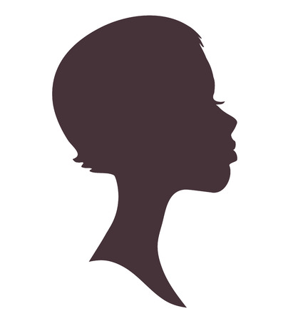 Girl face silhouette. Pretty african woman