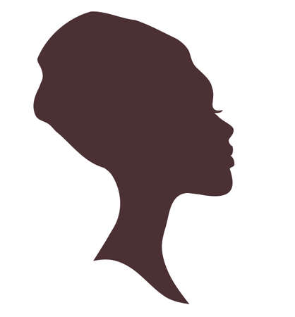 african woman face: African woman face silhouette in national headdress