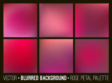 collection red: Red abstract blurred background set. Rose petal palette. Smooth design elements collection love concept