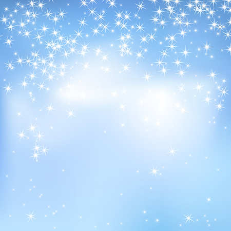 Blue sky abstract background with clouds and stars. Magical New Year, Christmas event style background.
