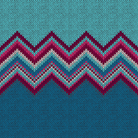 Seamless knitted pattern. Style blue red white ethnic geometric background