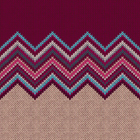 Seamless knitted pattern. Style blue beige red vinous ethnic geometric background