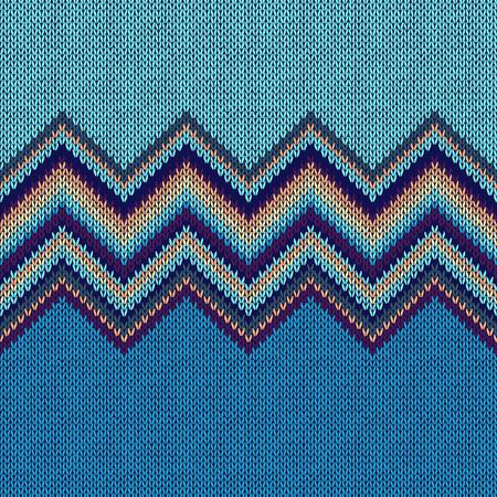 Seamless Ethnic Geometric Knitted Pattern. Beige Yellow Blue Horizontal Seamless Background