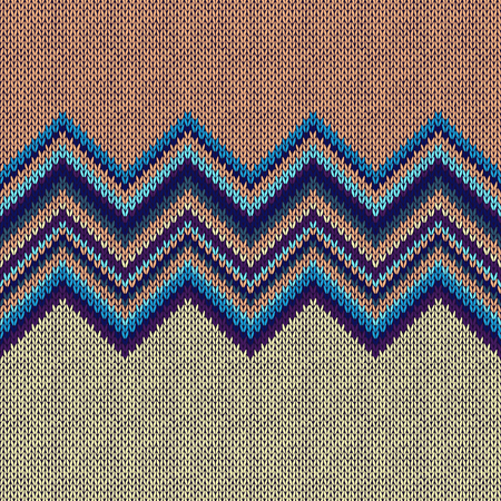 Seamless Ethnic Geometric Knitted Pattern. Beige Yellow Blue Horizontal Seamless Background