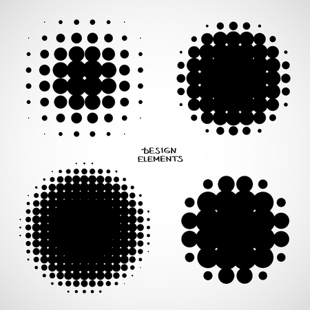 Simple Abstract Halftone Backgrounds. Vector Set of Isolated Halftone Modern Design Element. Black and white raster dots Illustration