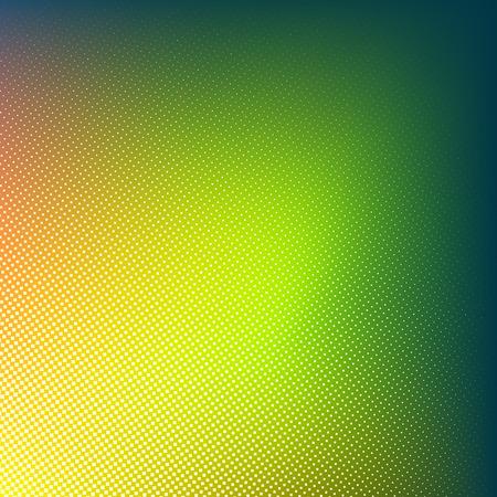 Halftone dots on green yellow and orange background with dark corner