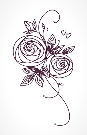 hand outline: Roses. Stylized flower bouquet hand drawing. Outline icon symbol. Present for wedding, birthday invitation card.