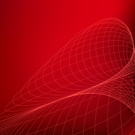 sag: Abstract red background. Curves geometric diverging fine lines in perspective Illustration