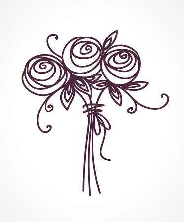 Flower bouquet on Stylized roses hand drawing.