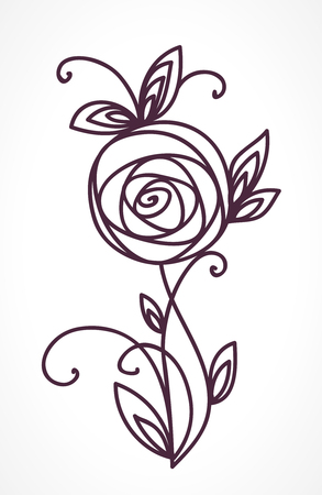 Rose. Stylized flower bouquet hand drawing