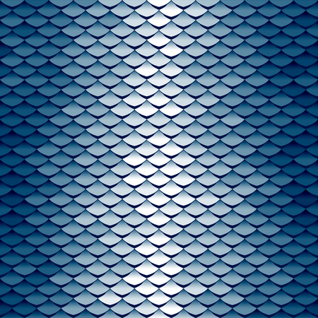 Seamless scale pattern. Abstract roof tiles background. Blue squama texture